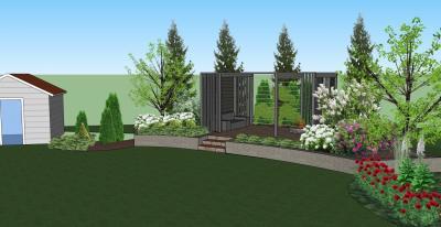 Pergola ja istutukset tekevät pihasta puutarhan